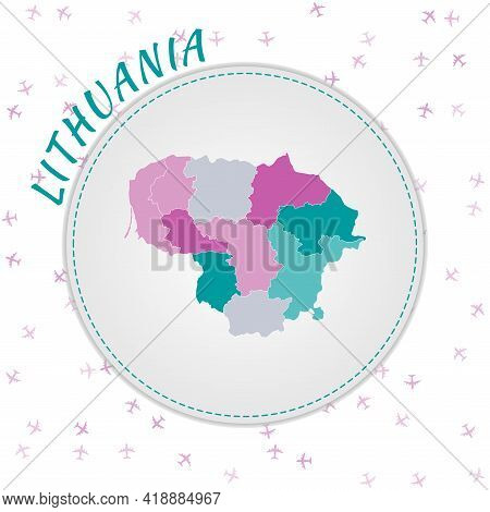 Lithuania Map Design. Map Of The Country With Regions In Emerald-amethyst Color Palette. Rounded Tra