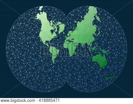 Internet And Global Connections Map. August Projection. Green Low Poly World Map With Network Backgr