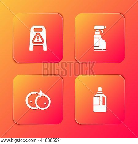 Set Wet Floor And Cleaning In Progress, Spray Bottle With Detergent Liquid, Washing Dishes And Fabri