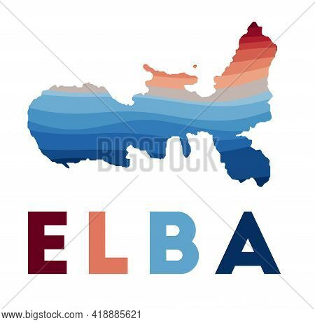 Elba Map. Map Of The Island With Beautiful Geometric Waves In Red Blue Colors. Vivid Elba Shape. Vec