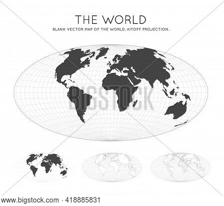 Map Of The World. Aitoff Projection. Globe With Latitude And Longitude Lines. World Map On Meridians
