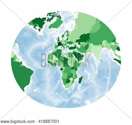 World Map. Modified Stereographic Projection For Europe And Africa. World In Green Colors With Blue
