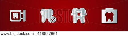 Set Dental Clinic Location, Tooth Whitening Concept, Teeth With Braces And X-ray Of Tooth Icon. Vect