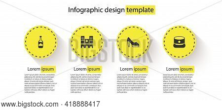 Set Bottles Of Wine, Notre Dame, Woman Shoe And Kepi. Business Infographic Template. Vector