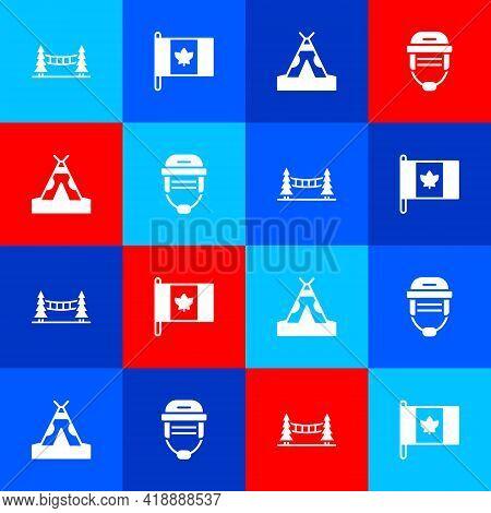 Set Capilano Suspension Bridge, Flag Of Canada, Indian Teepee Or Wigwam And Hockey Helmet Icon. Vect