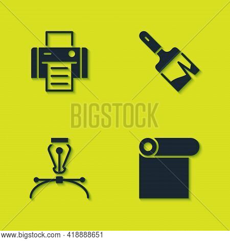 Set Printer, Roll Of Paper, Fountain Pen Nib And Paint Brush Icon. Vector