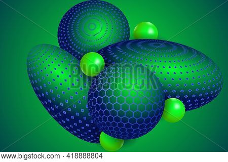 Abstract Composition With Neon 3d Objects. Levitation Spheres In The Space.