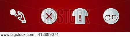 Set Hooligan Shooting Stones, X Mark, Cross Circle, T-shirt Protest And Handcuffs Icon. Vector