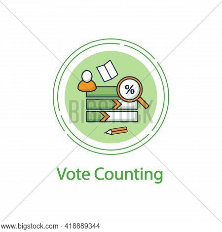 Vote Counting Concept Line Icon. Candidates Rating Horizontal Histogram. Voting Percentage.choice, V