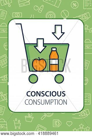Buy Less Brochure.basket With Necessary Products. Thoughtful Spending Money Template. Flyer, Magazin