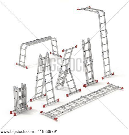 Set Of Multifunction Ladder Forms - 3d Illustration
