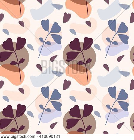 Contemporary Boho Plant Seamless Pattern Background For Design Wallpaper, Wrapping Paper, Scrapbooki