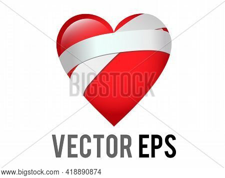 The Isolated Vector Classic Love Red Glossy Mending Heart Icon With Bandage Across One Side, Used Fo