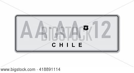Car Number Plate . Vehicle Registration License Of Chile. American Standard Sizes
