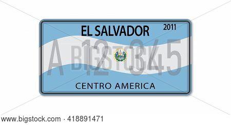 Car Number Plate . Vehicle Registration License Of El Salvador. American Standard Sizes