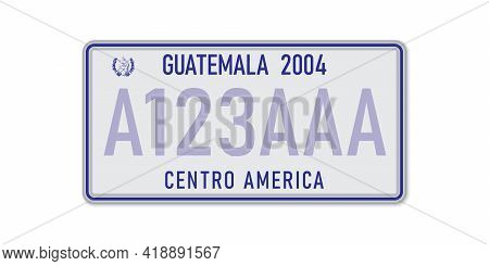 Car Number Plate . Vehicle Registration License Of Guatemala. American Standard Sizes