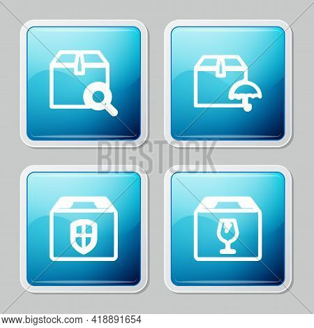 Set Line Search Package, Delivery With Umbrella, Box Security Shield And Fragile Content Icon. Vecto