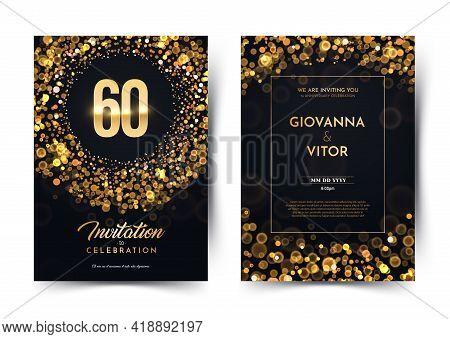 60th Years Birthday Vector Black Paper Luxury Invitation Double Card. Sixty Years Wedding Anniversar