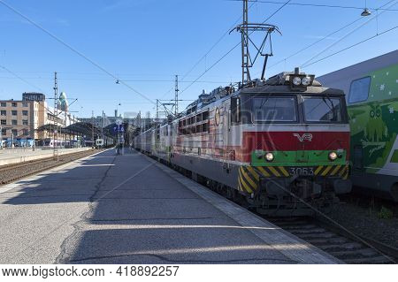 Helsinki, Finland - June 18 2019: A Train Operated By Vr Group At Helsinki Railway Station.