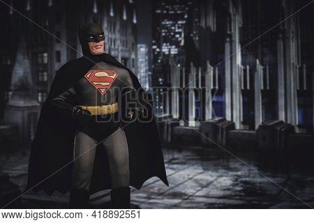 APRIL 27 2021: Mashup of DC Comic superheroes Batman and Superman, Batman wears the Superman S on his chest - Mego Corporation action figures