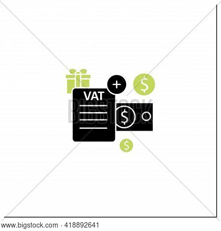 Value Added Tax Glyph Icon.indirect Tax, Goods Price. Paid By Buyer. Universal Basic Income Concept.
