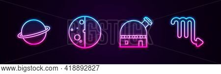 Set Line Planet Saturn, Eclipse Of The Sun, Astronomical Observatory And Scorpio Zodiac. Glowing Neo