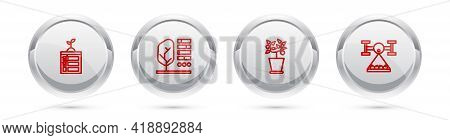 Set Line Smart Farming Technology, Plant Status, Pot And With Drone. Silver Circle Button. Vector
