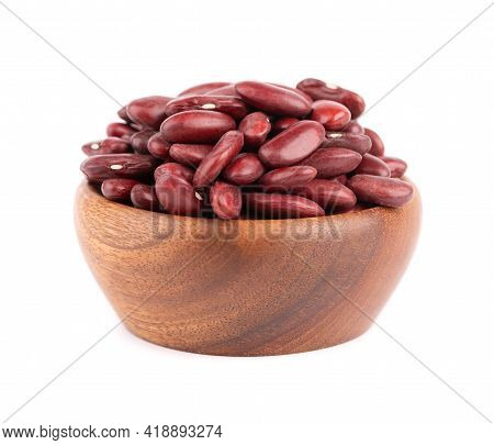 Red Kidney Beans In Wooden Bowl, Isolated On White Background. Rajma Or Mexican Bean. Beans Close Up