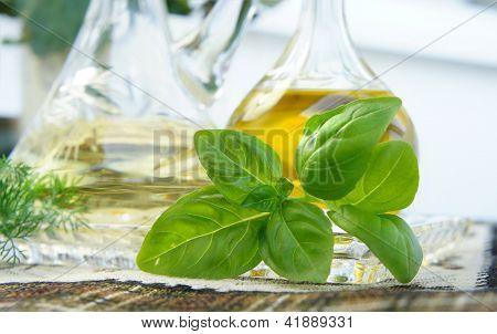 Olive Oil, Vinegar And Basil