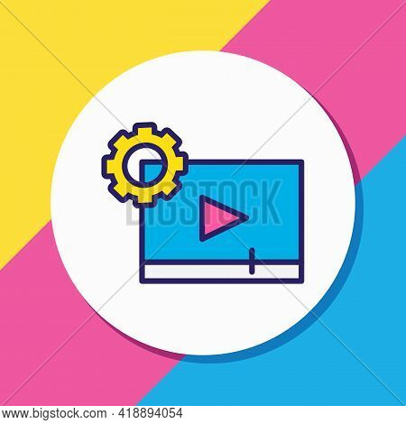 Vector Illustration Of Video Maker Icon Colored Line. Beautiful Entertainment Element Also Can Be Us
