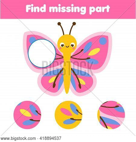 Butterfly Puzzle For Toddlers. Find Missing Part Of Picture. Educational Game For Children And Kids