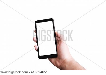Phone In Hand With Isolated White Display On White Background Close Up