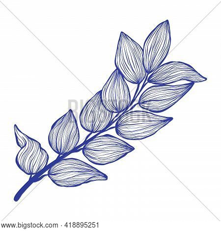 Tropical Brunch With Leaves In Linear Style. Exotic Hand Drawn Leaf In Trendy Style Collection. Mini