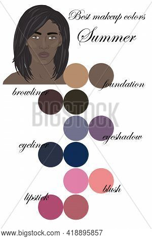 Best Makeup Colors For Summer Type Of Appearance. Seasonal Color Analysis Palette. Face Of Beautiful