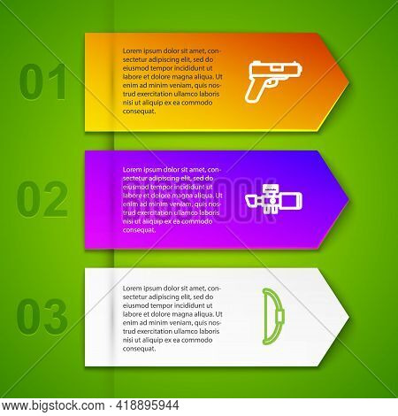 Set Line Pistol Or Gun, Sniper Optical Sight, Bow And Binoculars. Business Infographic Template. Vec