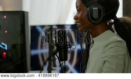 African American Esport Streamer Talking Into Micrphone