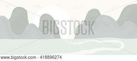 Traditional Asian Background, Landscape With Mountains, Road, Sun, Copy Space. Oriental, Eastern Sty