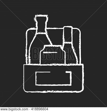 Alcoholic Drink-to-go Chalk White Icon On Black Background. Wine, Beer, Spirits And Liquor. Mixed Al