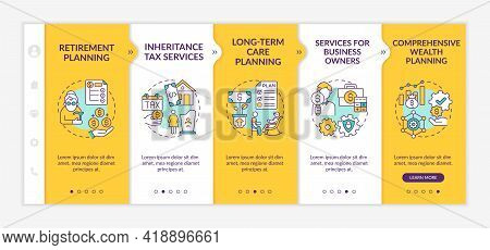 Wealth Control Services Onboarding Vector Template. Responsive Mobile Website With Icons. Web Page W