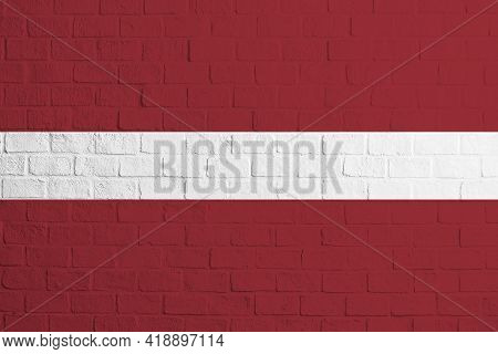 Flag Of Latvia Brick Wall Texture Of The Flag Of Latvia.