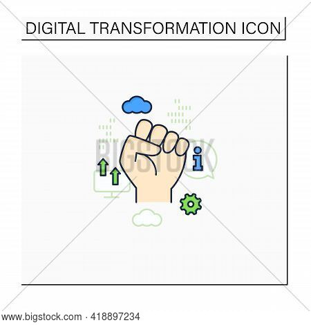 Information Revolution Color Icon. Fist Up. Saving, Sharing Info By Computers.digital Transformation