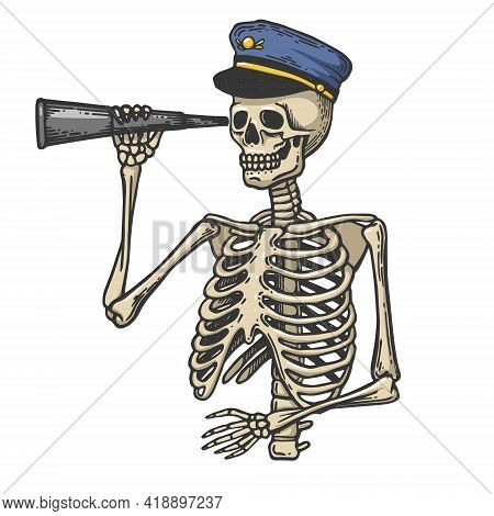Skeleton Captain With Telescope Color Sketch Engraving Vector Illustration. Scratch Board Style Imit