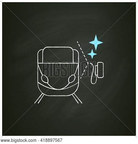 Train Cleaning Chalk Icon.railroad Carriage Disinfection.hygiene, Corona Virus And Infections Spread