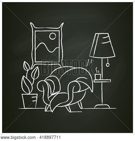 Living Room Chalk Icon.lounge Room With Comfortable Stylish Armchair And Floor Lamp, Elegant Picture
