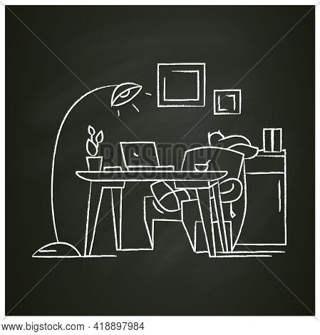 Comfortable Workplace Chalk Icon.home Workspace. Working Room With Seat, Desktop And Computer. Freel
