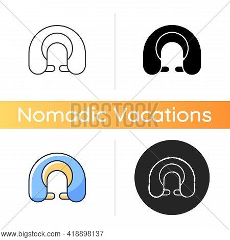 Travel Pillow Icon. Neck Cushion For Good Posture. Napping Accessory. Roadtrip Gear. Nomadic Lifesty