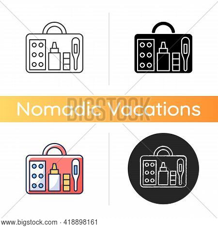 Small First Aid Kit Icon. Health Care Emergency Bag. Roadtrip Gear. Nomadic Lifestyle Equipment. Cam