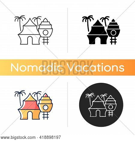Nomadic Resort Icon. Hotel In Tropical Area. Hostel On Beach. Recreation And Rest. Nomadic Lifestyle