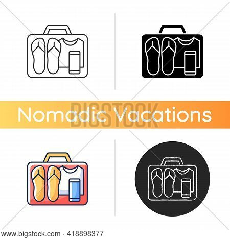 Minimalist Mindset Icon. Pack Clothing In Luggage. Apparel In Suitcase. Roadtrip Gear. Nomadic Lifes