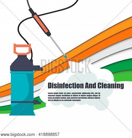 Disinfection In India From Various Viruses On The Street And At Home. Banner, Logo For Disinfection